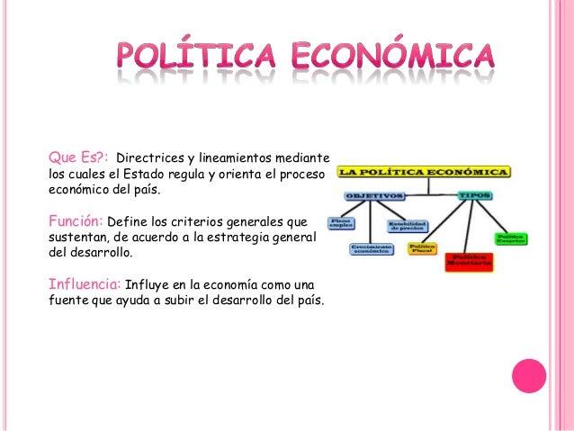 Que Es?: Directrices y lineamientos mediante los cuales el Estado regula y orienta el proceso económico del país. Función:...