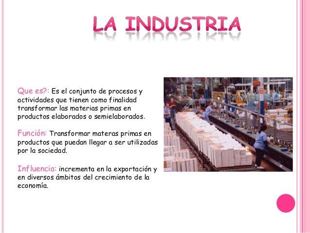 Que es?: Es el conjunto de procesos y actividades que tienen como finalidad transformar las materias primas en productos e...