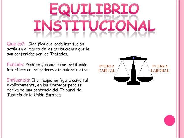 Que es?: Significa que cada institución actúa en el marco de las atribuciones que le son conferidas por los Tratados. Func...