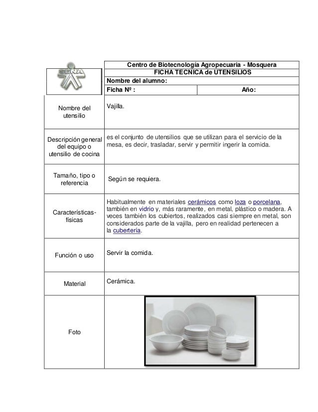 Fichas utensilios for Utensilios para servir comida