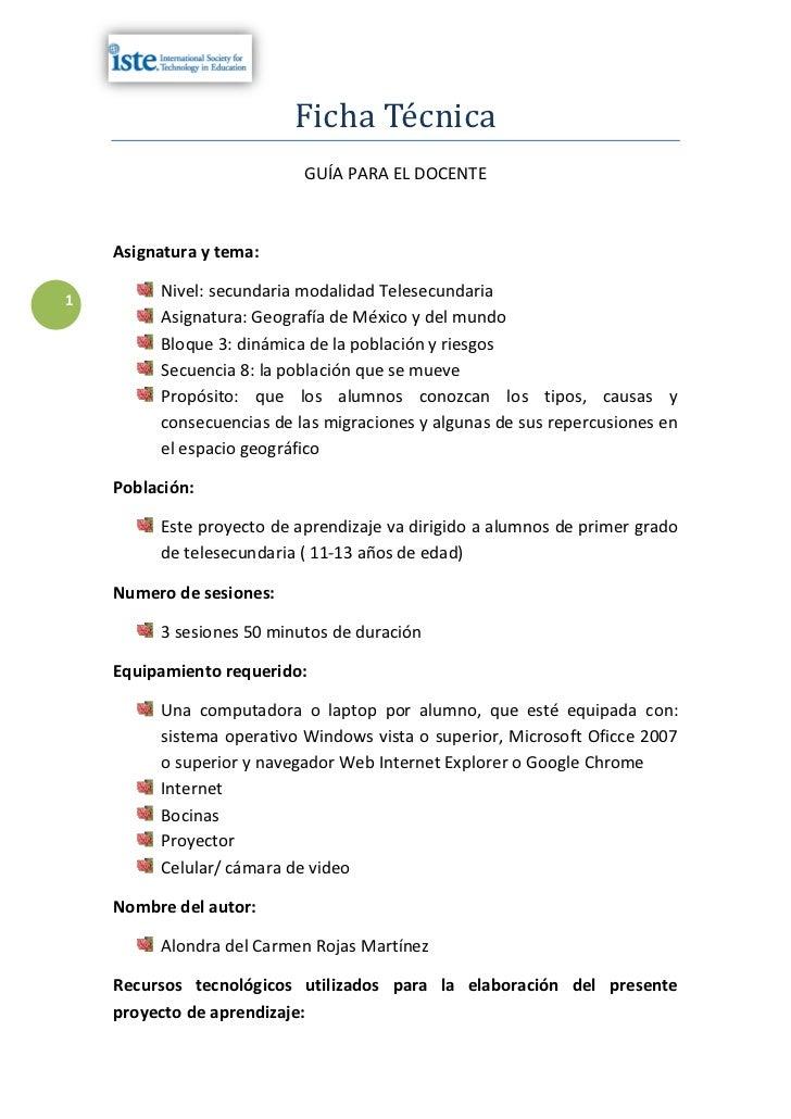 Ficha Técnica                           GUÍA PARA EL DOCENTE    Asignatura y tema:1         Nivel: secundaria modalidad Te...