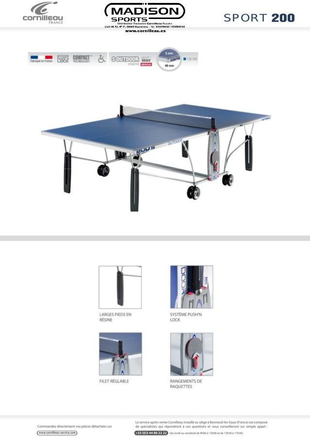 Ficha t cnica mesa de ping pong cornilleau mesa 200 s outdoor - Dimension table de ping pong cornilleau ...