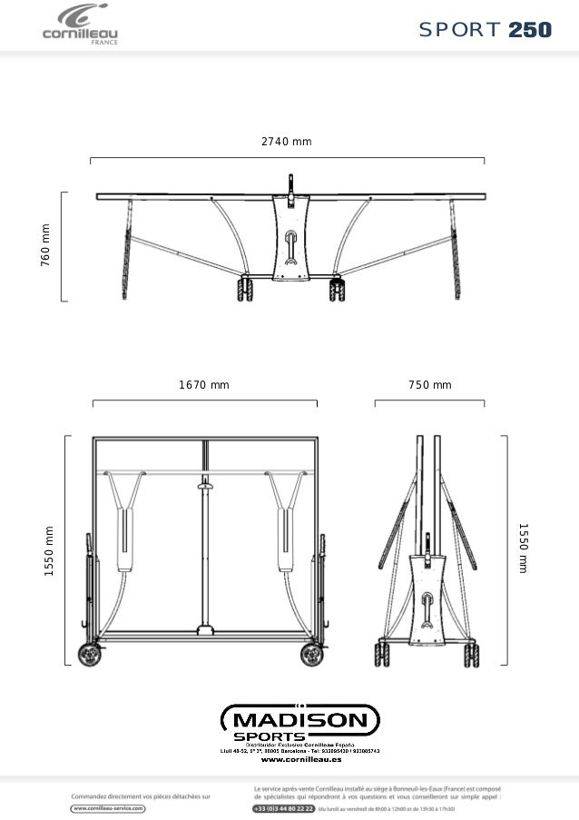 marvelous taille table ping pong #6: sport 2740 mm 760 mm 1670 mm