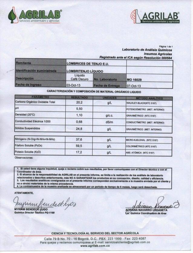 Ficha técnica 2013 Humus Liquido AGRILAB Servicios ambientales y Agricolas