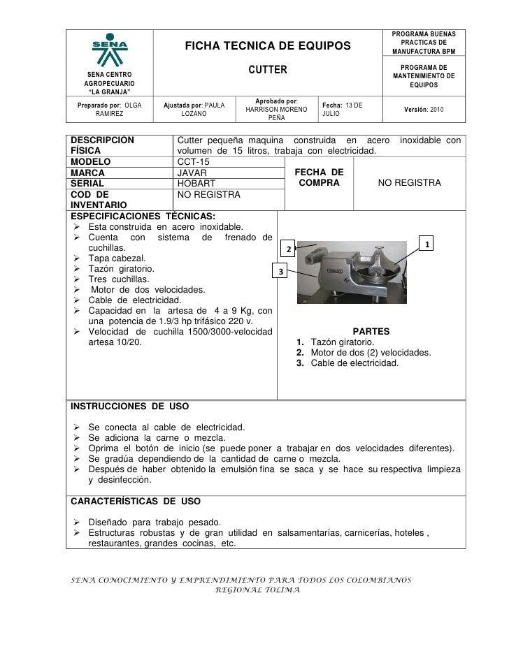 Ficha tecnica cutter for Manual de limpieza y desinfeccion para una cocina