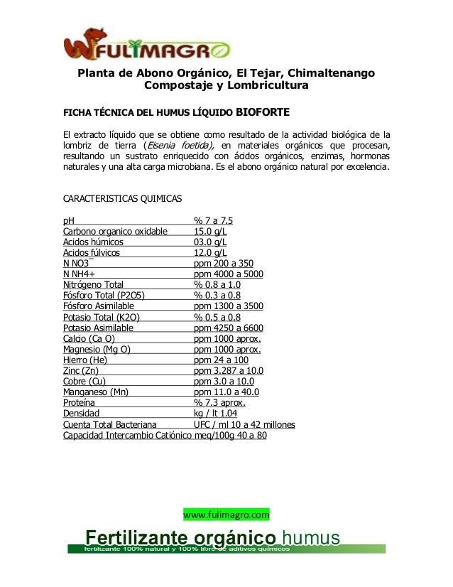 Ficha tecnica del bioforte original - Abono organico para plantas ...