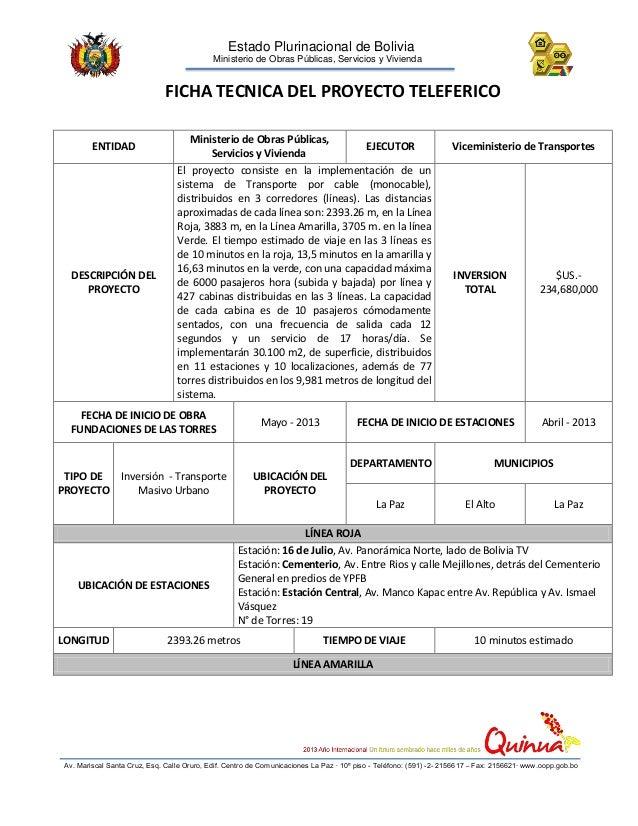 Estado Plurinacional de Bolivia Ministerio de Obras Públicas, Servicios y Vivienda  FICHA TECNICA DEL PROYECTO TELEFERICO ...
