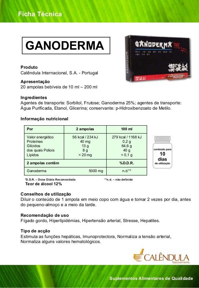 Ficha Técnica  GANODERMAProdutoCalêndula Internacional, S.A. - PortugalApresentação20 ampolas bebíveis de 10 ml – 200 mlIn...