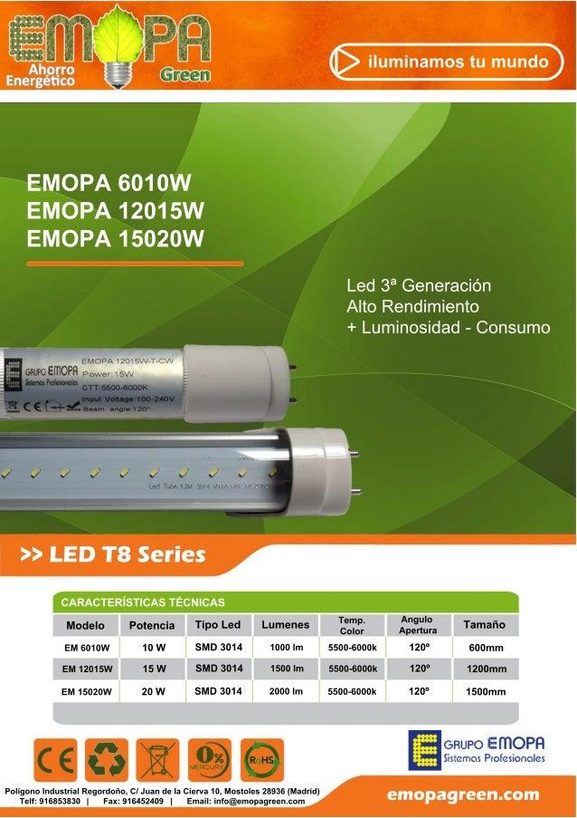 Ficha tecnica Tubos LED T8