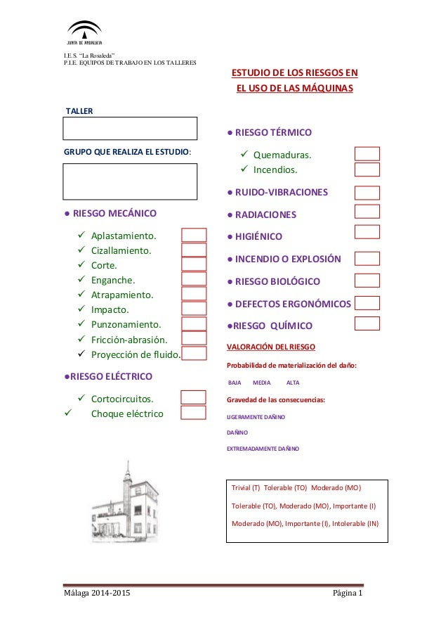 """I.E.S. """"La Rosaleda"""" P.I.E. EQUIPOS DE TRABAJO EN LOS TALLERES Málaga 2014-2015 Página 1 TALLER GRUPO QUE REALIZA EL ESTUD..."""