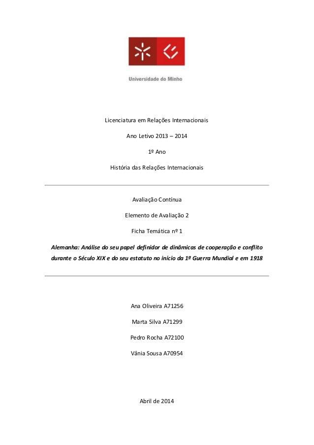Licenciatura em Relações Internacionais Ano Letivo 2013 – 2014 1º Ano História das Relações Internacionais Avaliação Contí...