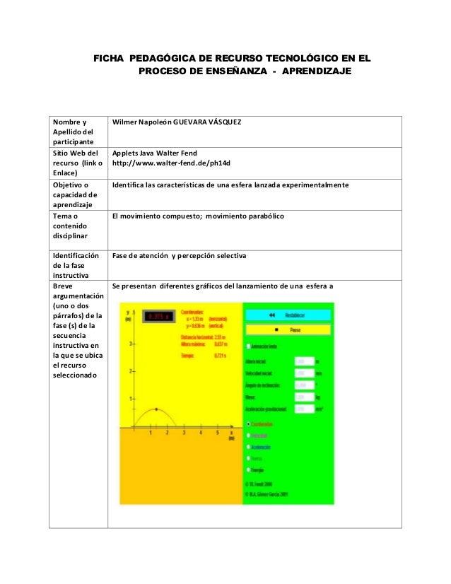 FICHA PEDAGÓGICA DE RECURSO TECNOLÓGICO EN ELPROCESO DE ENSEÑANZA - APRENDIZAJENombre yApellido delparticipanteWilmer Napo...