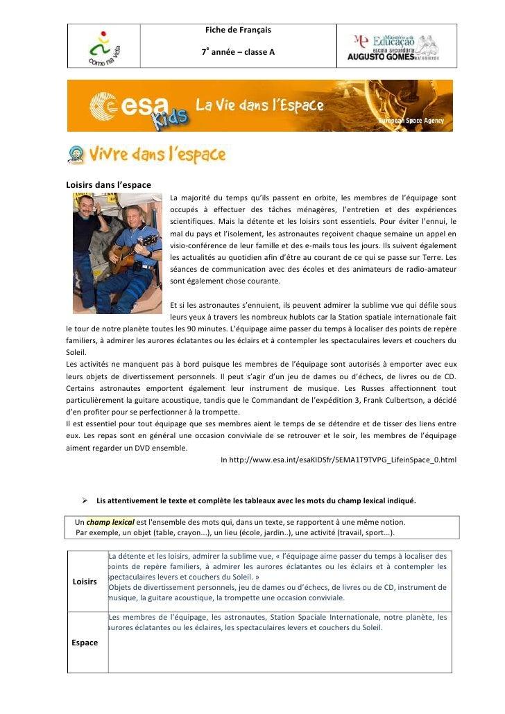 Fiche de Français                                         7e année – classe ALoisirs dans l'espace                        ...