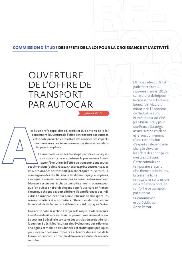Janvier 2015 près un bref rappel des objectifs et du contenu de la loi concernant l'ouverture de l'offre de transport par ...
