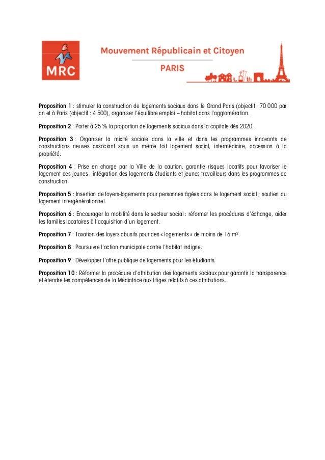 Proposition 1 : stimuler la construction de logements sociaux dans le Grand Paris (objectif : 70 000 paran et à Paris (obj...