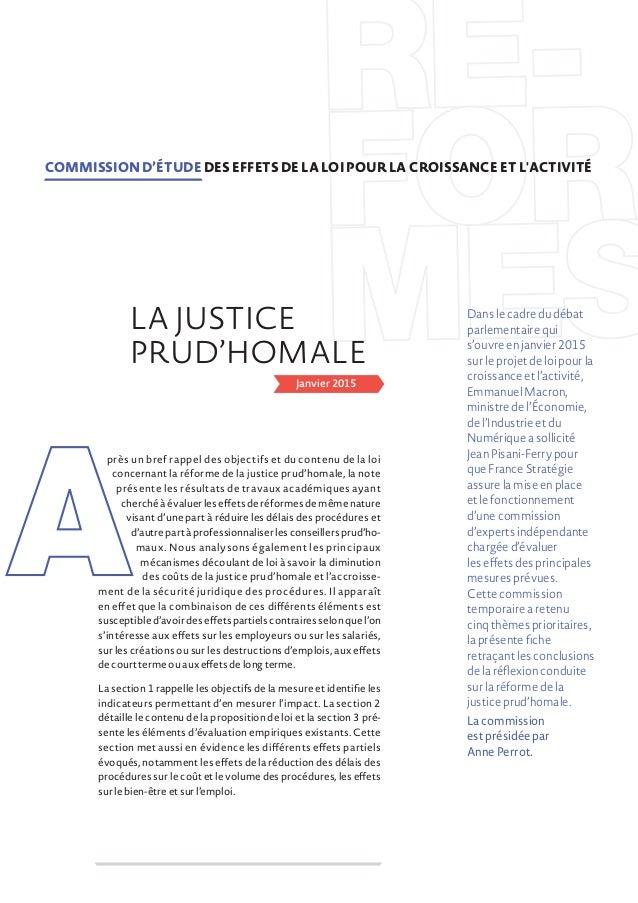 Janvier 2015 près un bref rappel des objectifs et du contenu de la loi concernant la réforme de la justice prud'homale, la...