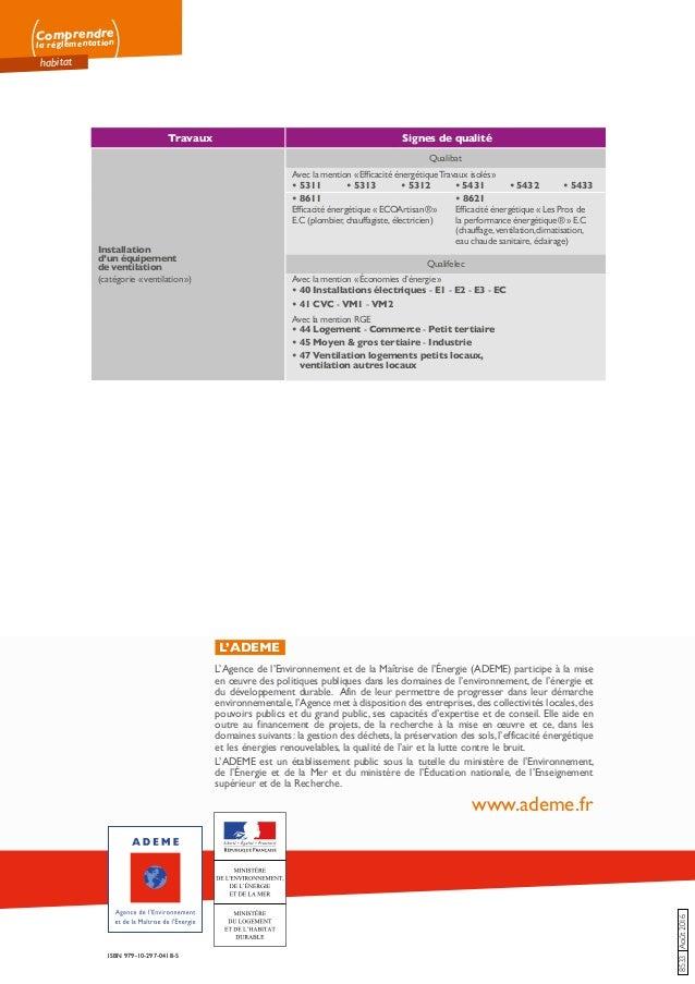Comprendre la réglementation habitat 8533Août2016 ISBN 979-10-297-0418-5 L'ADEME L'Agence de l'Environnement et de la Maît...