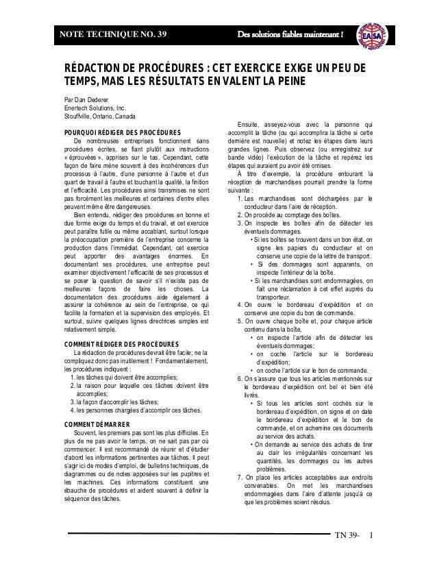 TN 39- 1 NOTE TECHNIQUE NO. 39 Des solutions fiables maintenant ! RÉDACTION DE PROCÉDURES : CET EXERCICE EXIGE UN PEU DE T...