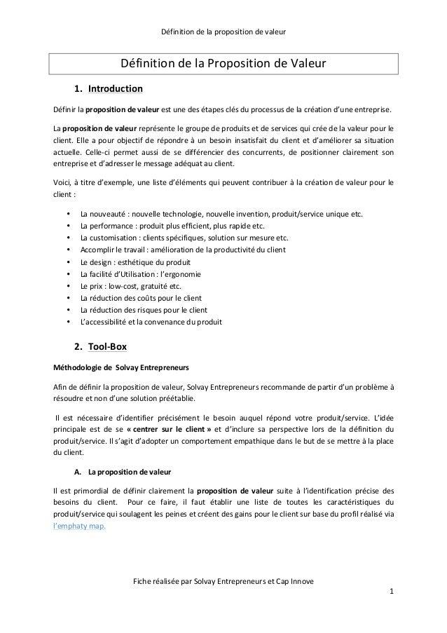 Définition  de  la  proposition  de  valeur   Fiche  réalisée  par  Solvay  Entrepreneurs  et  Cap...
