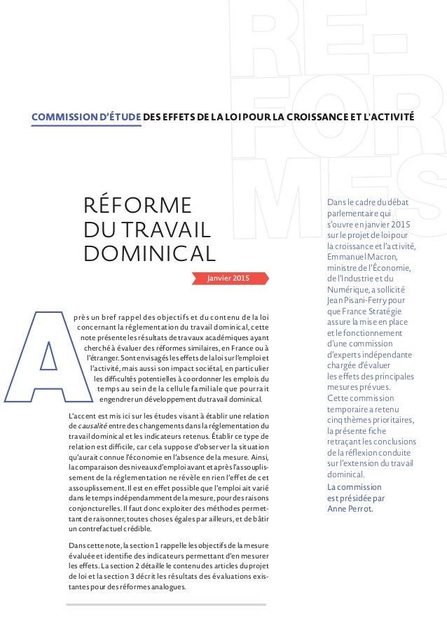 Janvier 2015 près un bref rappel des objectifs et du contenu de la loi concernant la réglementation du travail dominical, ...