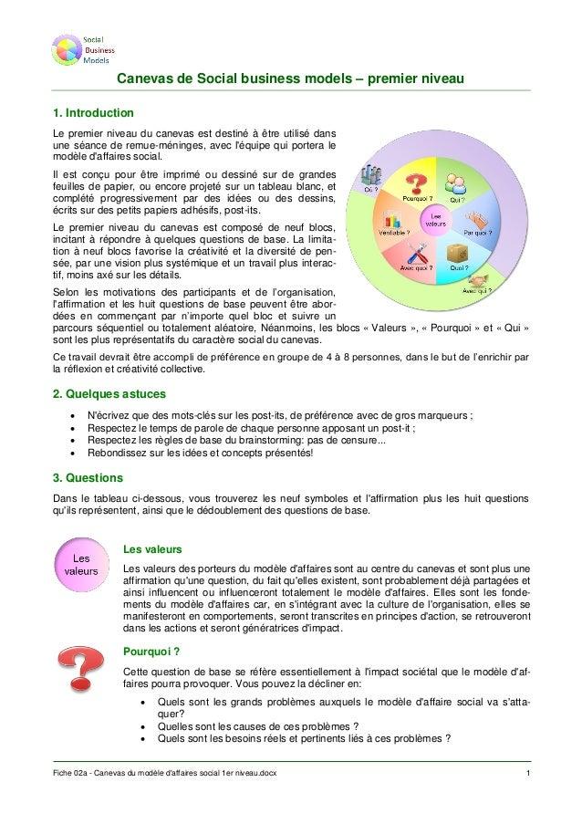 Fiche 02a - Canevas du modèle d'affaires social 1er niveau.docx 1 Canevas de Social business models – premier niveau 1. In...
