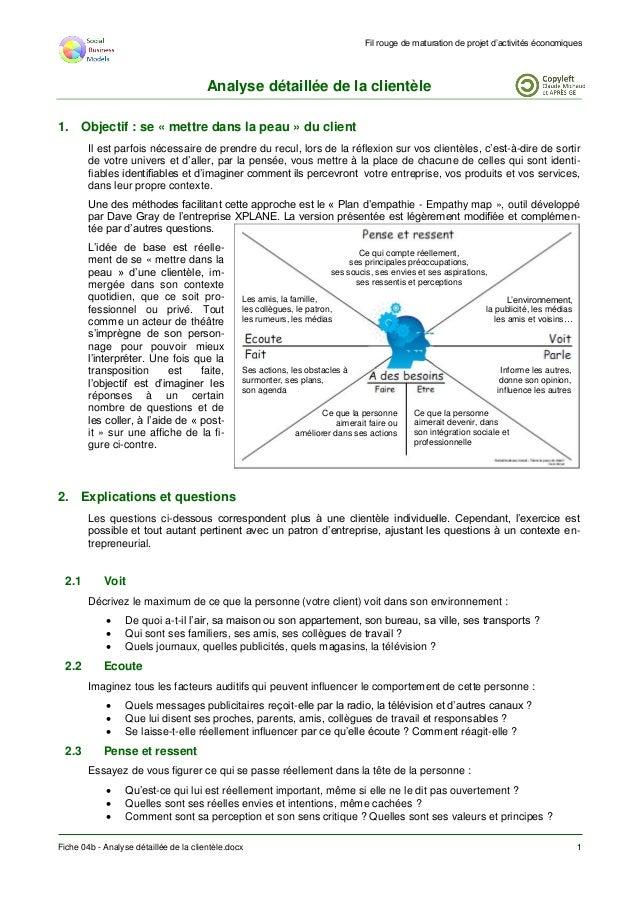 Fil rouge de maturation de projet d'activités économiques Fiche 04b - Analyse détaillée de la clientèle.docx 1 Analyse dét...