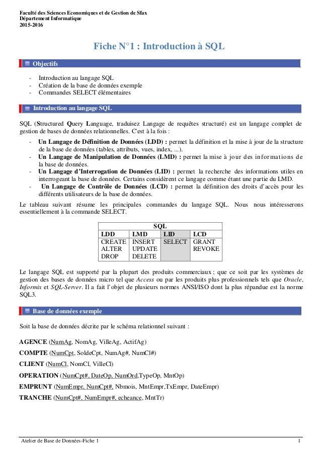 Faculté des Sciences Economiques et de Gestion de Sfax Equipe Pédagogique : BARGUI Fahmi Département Informatique HSAN Mou...