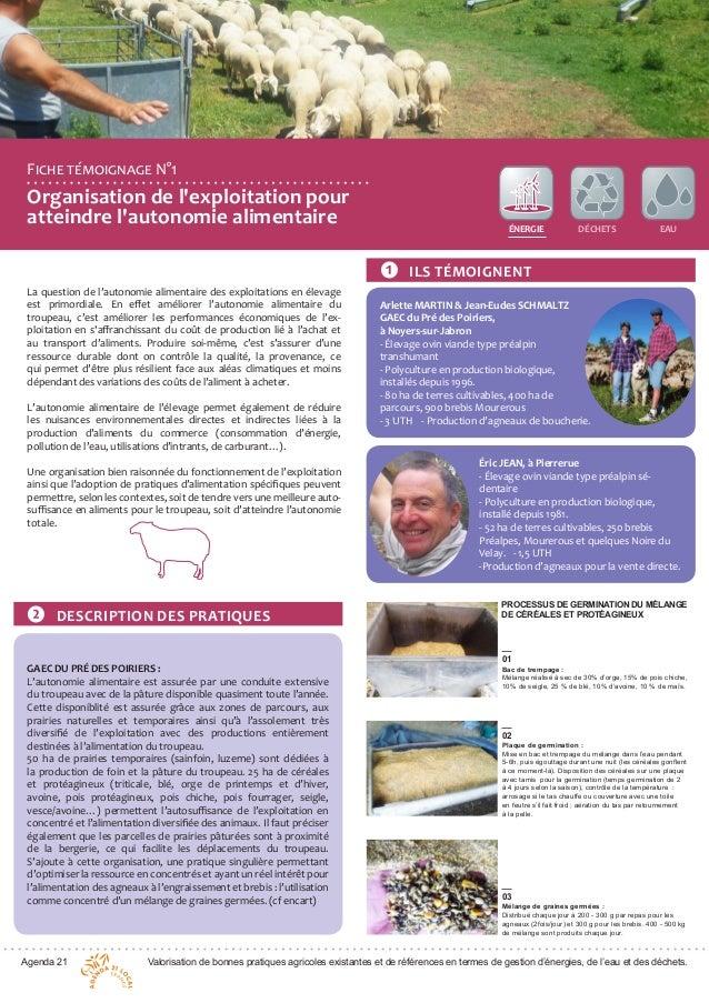 Agenda 21 Valorisation de bonnes pratiques agricoles existantes et de références en termes de gestion d'énergies, de l'eau...