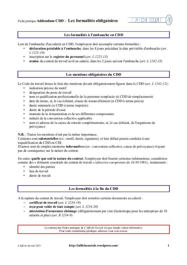 mention obligatoire d un contrat de travail Fiche CDD Addendum : Formalités mention obligatoire d un contrat de travail