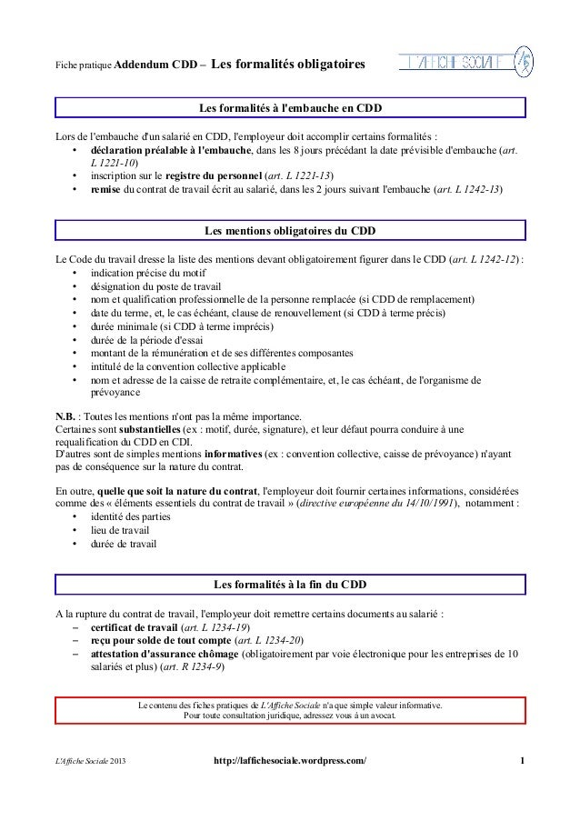 Fiche CDD Addendum : Formalités