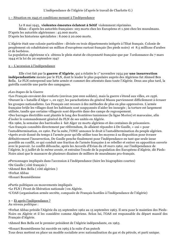 Lindépendance de lAlgérie (daprès le travail de Charlotte G.)1 – Situation en 1945 et conditions menant à lindépendance   ...