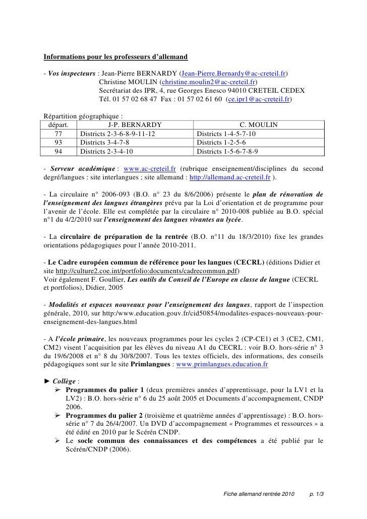 Informations pour les professeurs d'allemand  - Vos inspecteurs : Jean-Pierre BERNARDY (Jean-Pierre.Bernardy@ac-creteil.fr...
