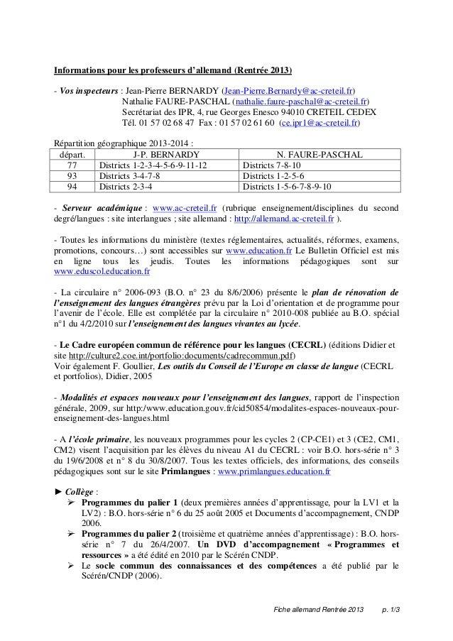 Fiche allemand Rentrée 2013 p. 1/3 Informations pour les professeurs d'allemand (Rentrée 2013) - Vos inspecteurs : Jean-Pi...