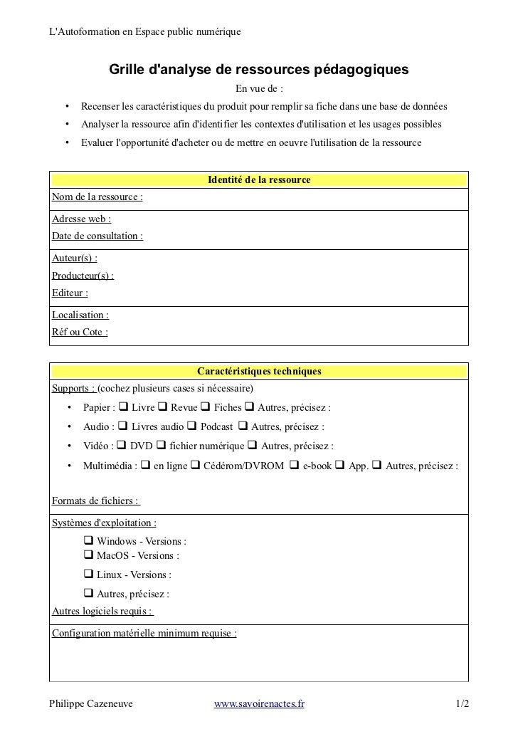 LAutoformation en Espace public numérique                Grille danalyse de ressources pédagogiques                       ...