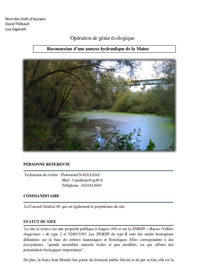 Nom des chefs d'équipes: David Thébault Lisa Zaganelli Opération de génie écologique Reconnexion d'une annexe hydraulique ...