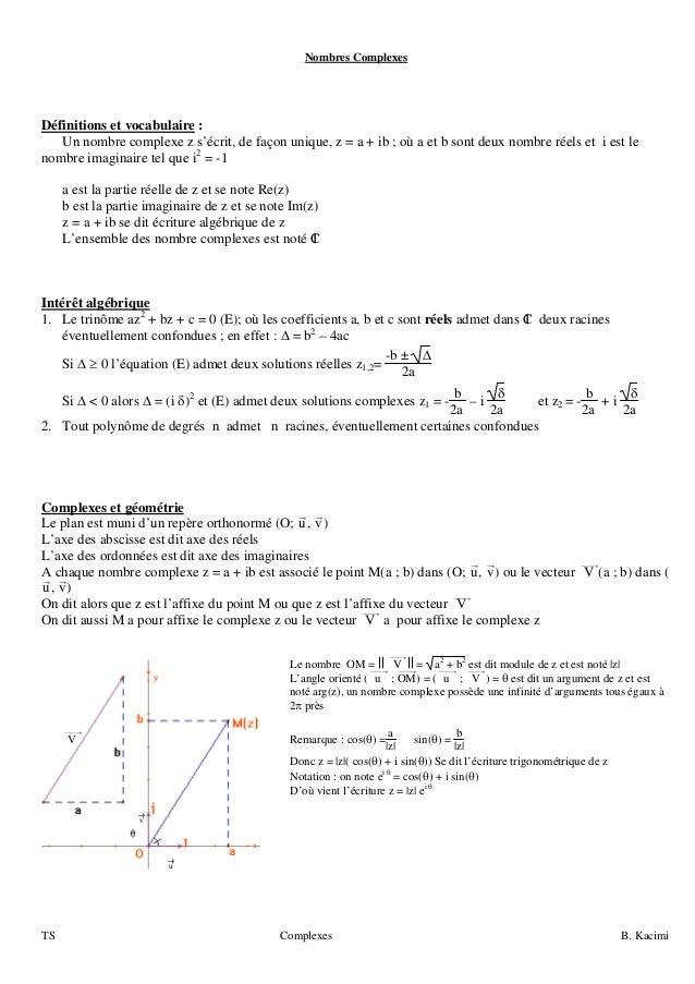 TS Complexes B. Kacimi Nombres Complexes Définitions et vocabulaire : Un nombre complexe z s'écrit, de façon unique, z = a...