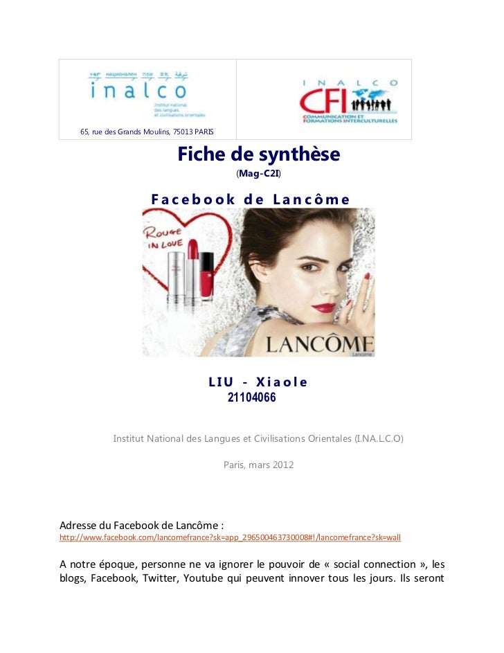 65, rue des Grands Moulins, 75013 PARIS                                 Fiche de synthèse                                 ...