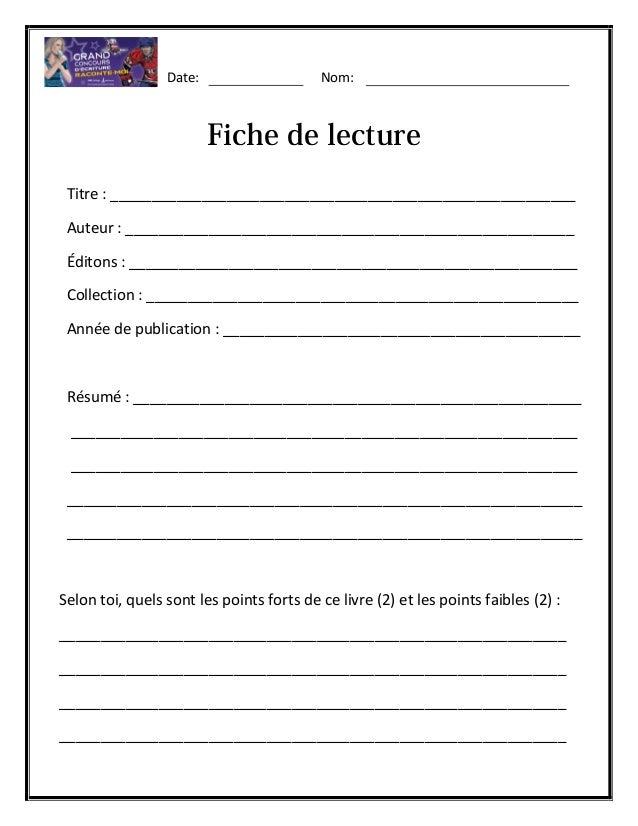 5e learning cycle lesson plan template - grand concours d 39 criture raconte moi fiche de lecture