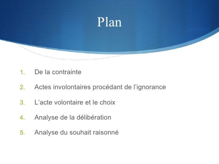 Plan <ul><li>De la contrainte </li></ul><ul><li>Actes involontaires procédant de l'ignorance </li></ul><ul><li>L'acte volo...