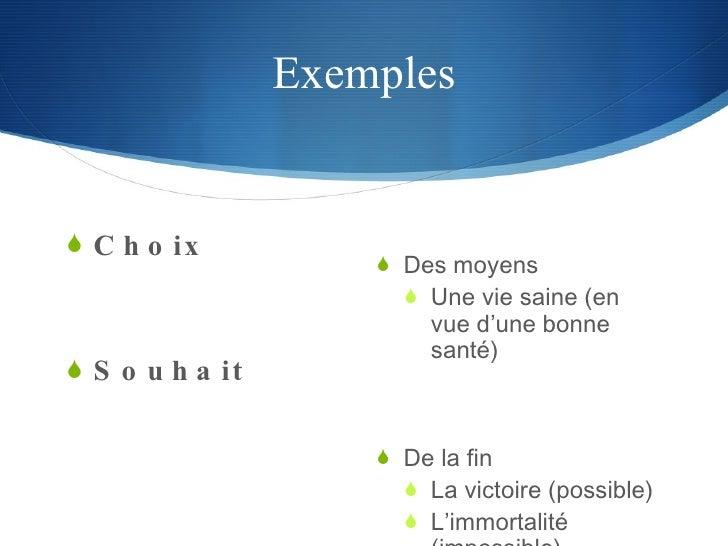 Exemples <ul><li>Choix </li></ul><ul><li>Souhait </li></ul><ul><li>Des moyens </li></ul><ul><ul><li>Une vie saine (en vue ...
