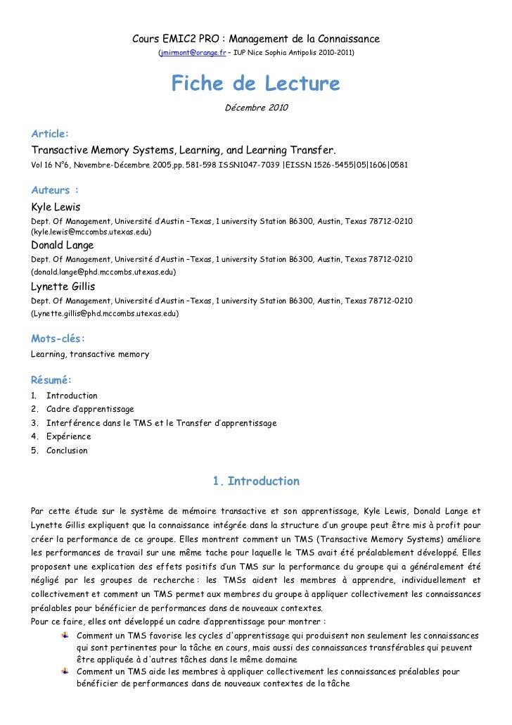 Fiche De Lecture Transactive Systems