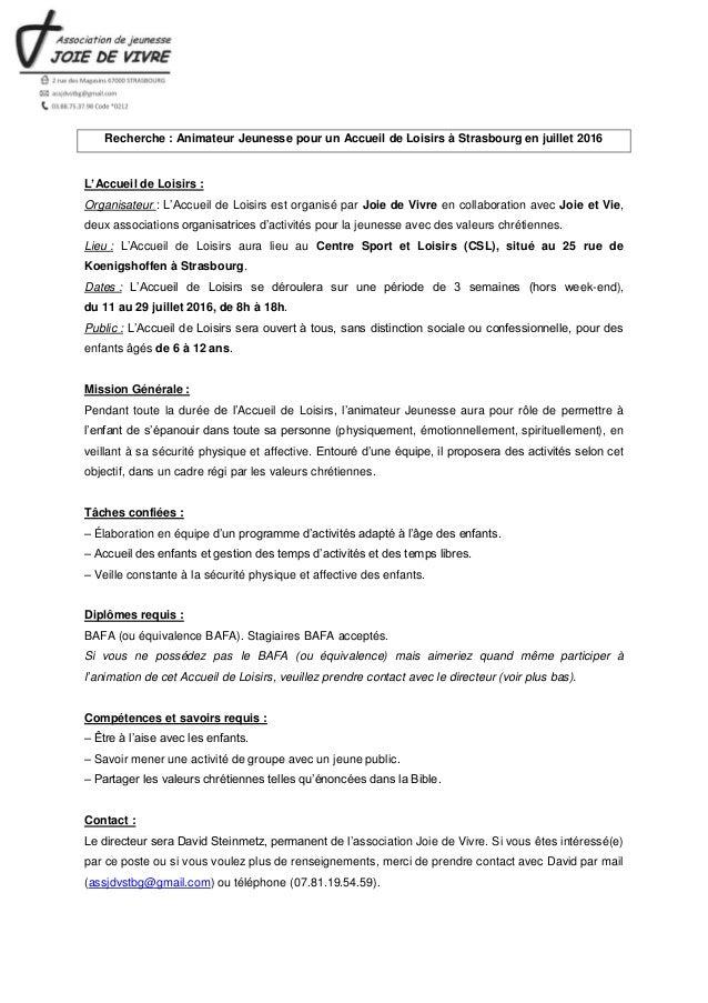 Recherche : Animateur Jeunesse pour un Accueil de Loisirs à Strasbourg en juillet 2016 L'Accueil de Loisirs : Organisateur...