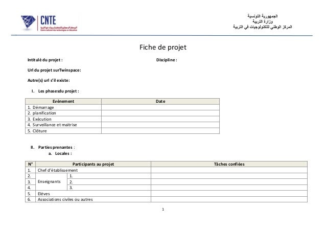 1 Fiche de projet Intitulé du projet : Discipline : Url du projet surTwinspace: Autre(s) url s'il existe: I. Les phasesdu ...
