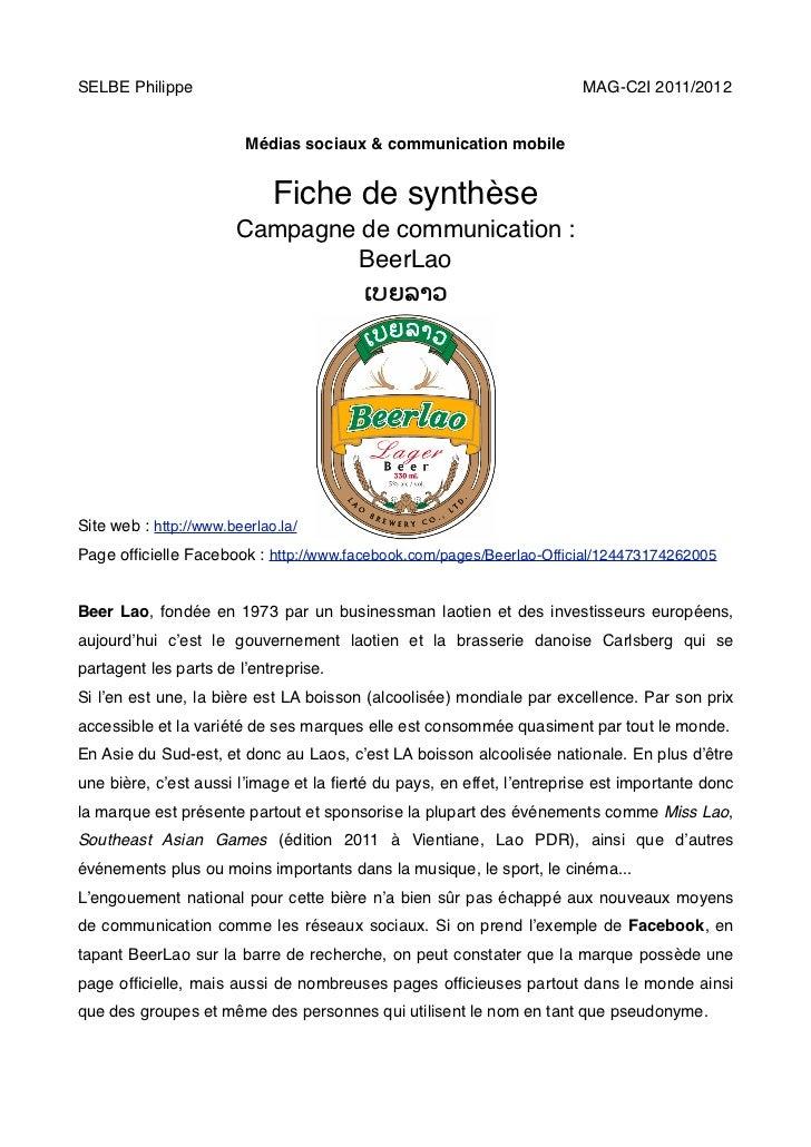 SELBE Philippe!      !      !       !    !      !      !      !         MAG-C2I 2011/2012                         Médias s...