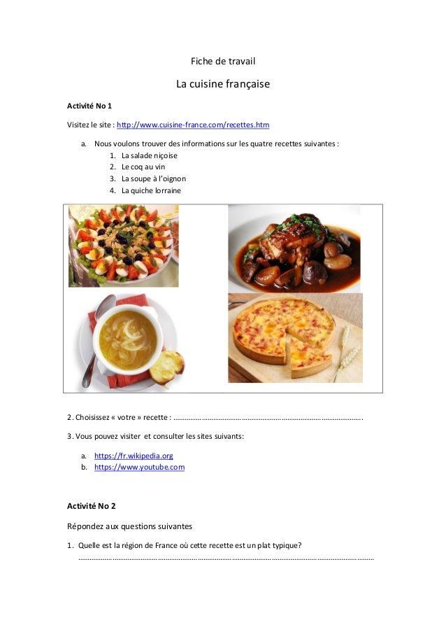 Fiche de travail la cuisine fran aise - Recette de cuisine pour l hiver ...