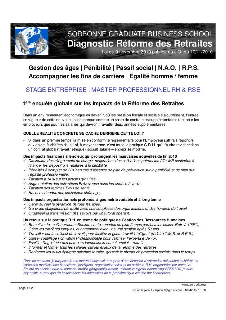 SORBONNE GRADUATE BUSINESS SCHOOL                                 Diagnostic Réforme des Retraites                        ...