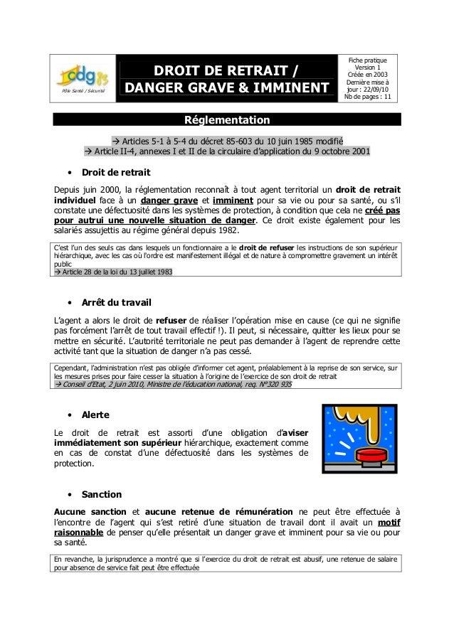Fiche Droit De Retrait Danger G26i 2010 Cdg 83