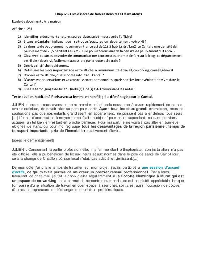 Chap G1-3 Les espaces de faibles densités et leurs atouts Etude de document : A la maison Affiche p.251 1) Identifierle do...