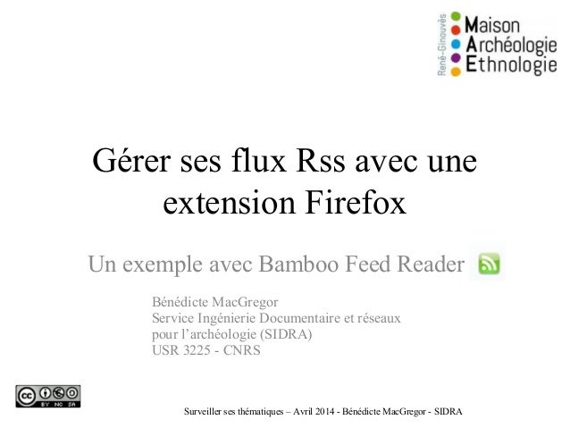 Gérer ses flux Rss avec une extension Firefox Un exemple avec Bamboo Feed Reader Bénédicte MacGregor Service Ingénierie Do...