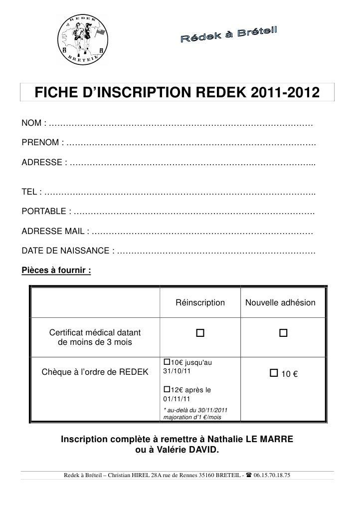 fiche inscription 2011 2012 vierge